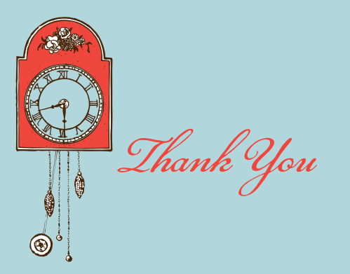 Ticking Clock Bridal Shower Thank You Cards