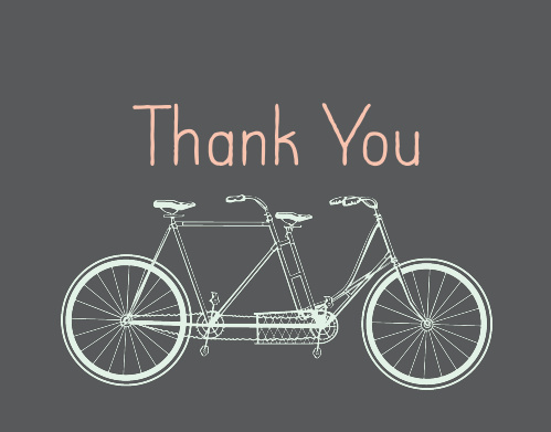 Tandem Bike Bridal Shower Thank You Cards