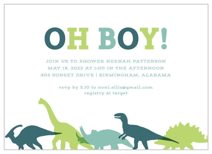 Dinosaur Baby Shower Invitations - Match Your Color & Style
