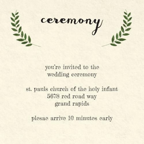 Vintage Wreath Ceremony Cards