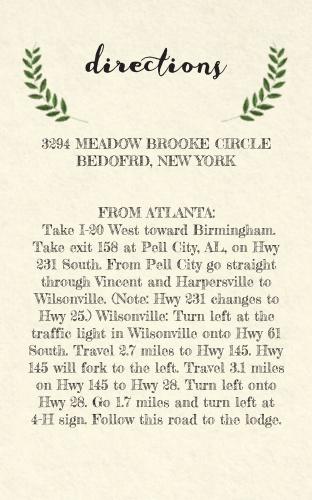 Vintage Wreath Direction Cards