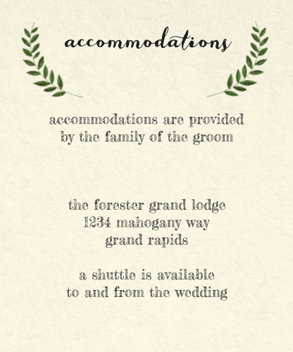 Vintage Wreath Accommodation Cards