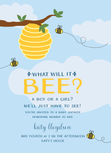 Bumble Bee Baby Shower Invitations Match Your Color Style Free