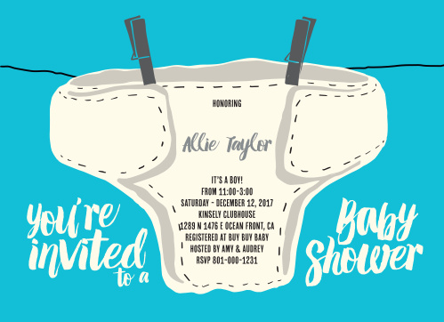 Diaper Baby Shower Invitations Match Your Color Style Free