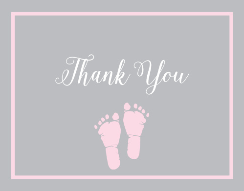 Little Girl's Footprints Baby Shower Thank You Cards