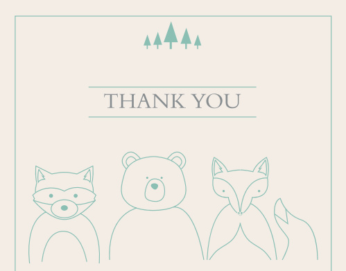 Woodland Outline Baby Shower Thank You Cards