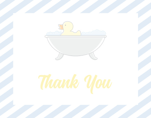 rub a dub baby shower thank you cards