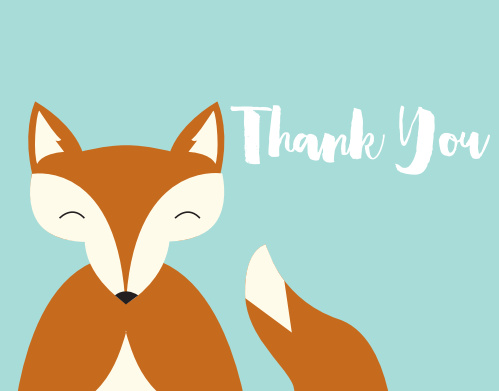 Happy Fox Baby Shower Thank You Cards