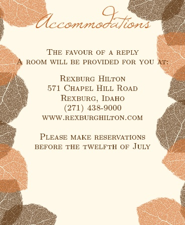 The Autumn Leaves Accommodation Cards