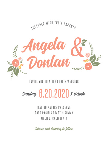floral wedding invitations match your color style free