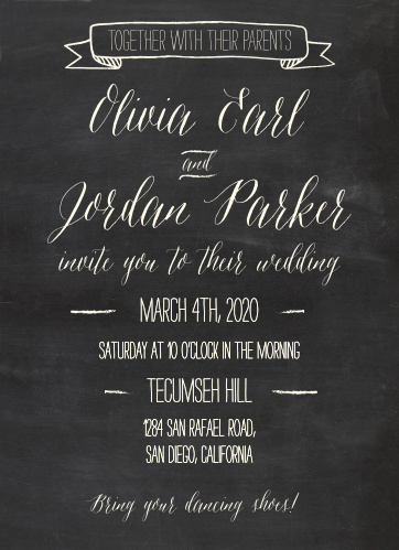 Chalkboard Wedding Invitations Match Your Color Style Free