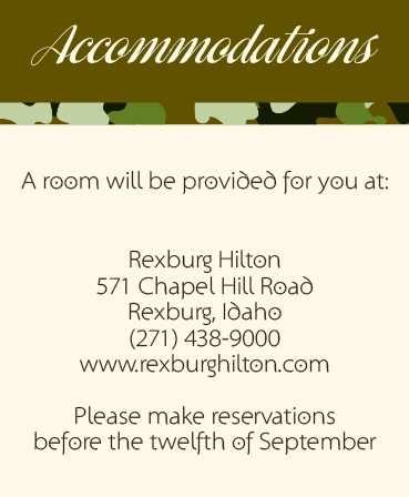 The Camo & Antlers Accommodation Cards