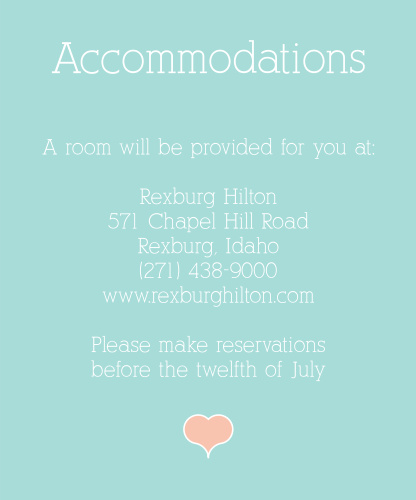 Water Colors Accommodation Cards