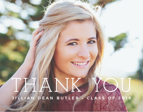 Basic Typography Graduation Thank You Cards