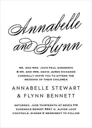 Statement Script Wedding Invitation