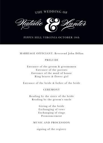 Minimal Ampersand Wedding Programs