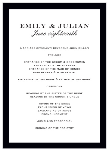 Wedding Programs Match Your Colors Style Free Basic