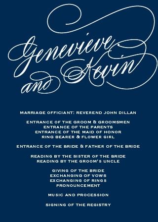 Glamorous Typography Wedding Program