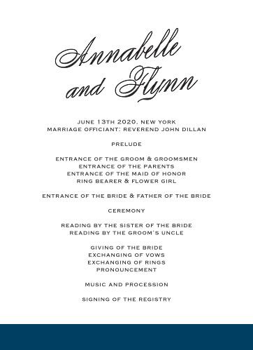 Statement Script Wedding Programs