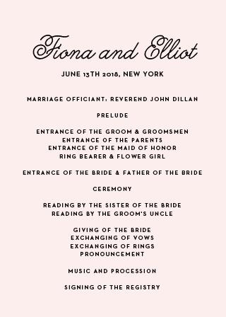 Sweetheart Script Wedding Program