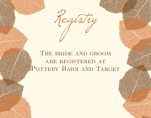 The Autumn Leaves Registry Cards
