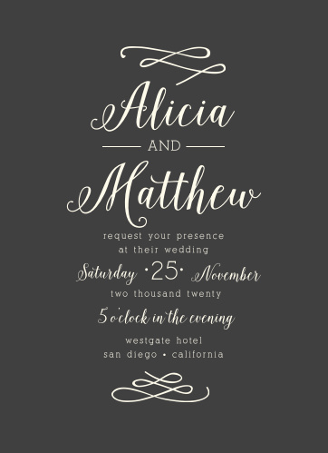 Calligraphy Wedding Invitations | Wedding Invitations Match Your Color Style Free