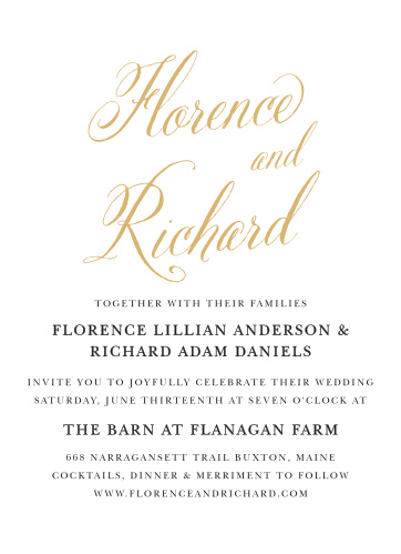 Romantic Calligraphy Foil Wedding Invitations