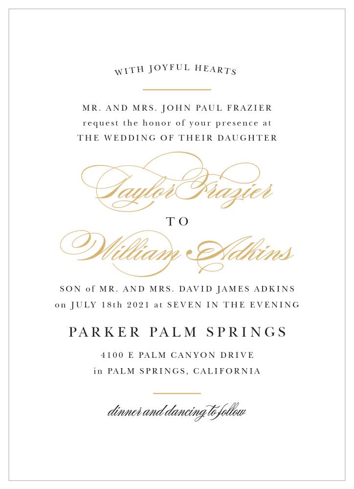 Elegant Vintage Foil Portrait Wedding Invitations