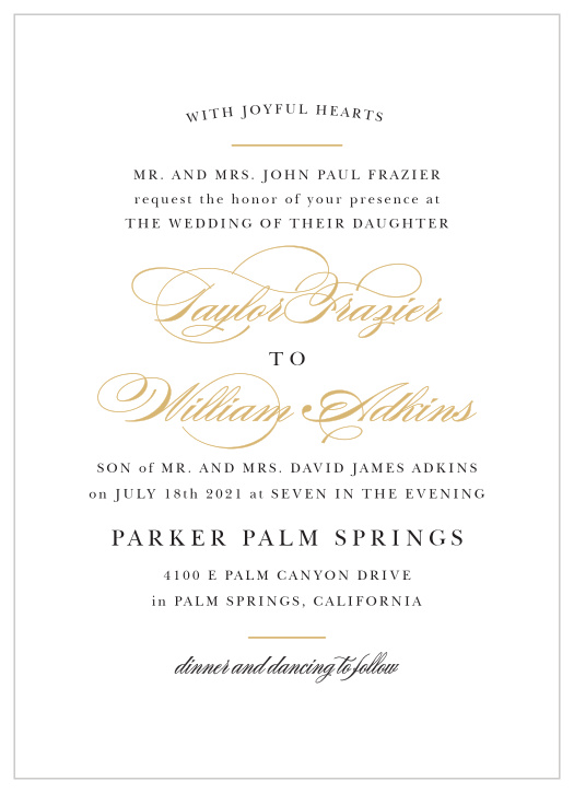 Foil Stamped Wedding Invitations Gold Silver Rose Gold Basic Invite