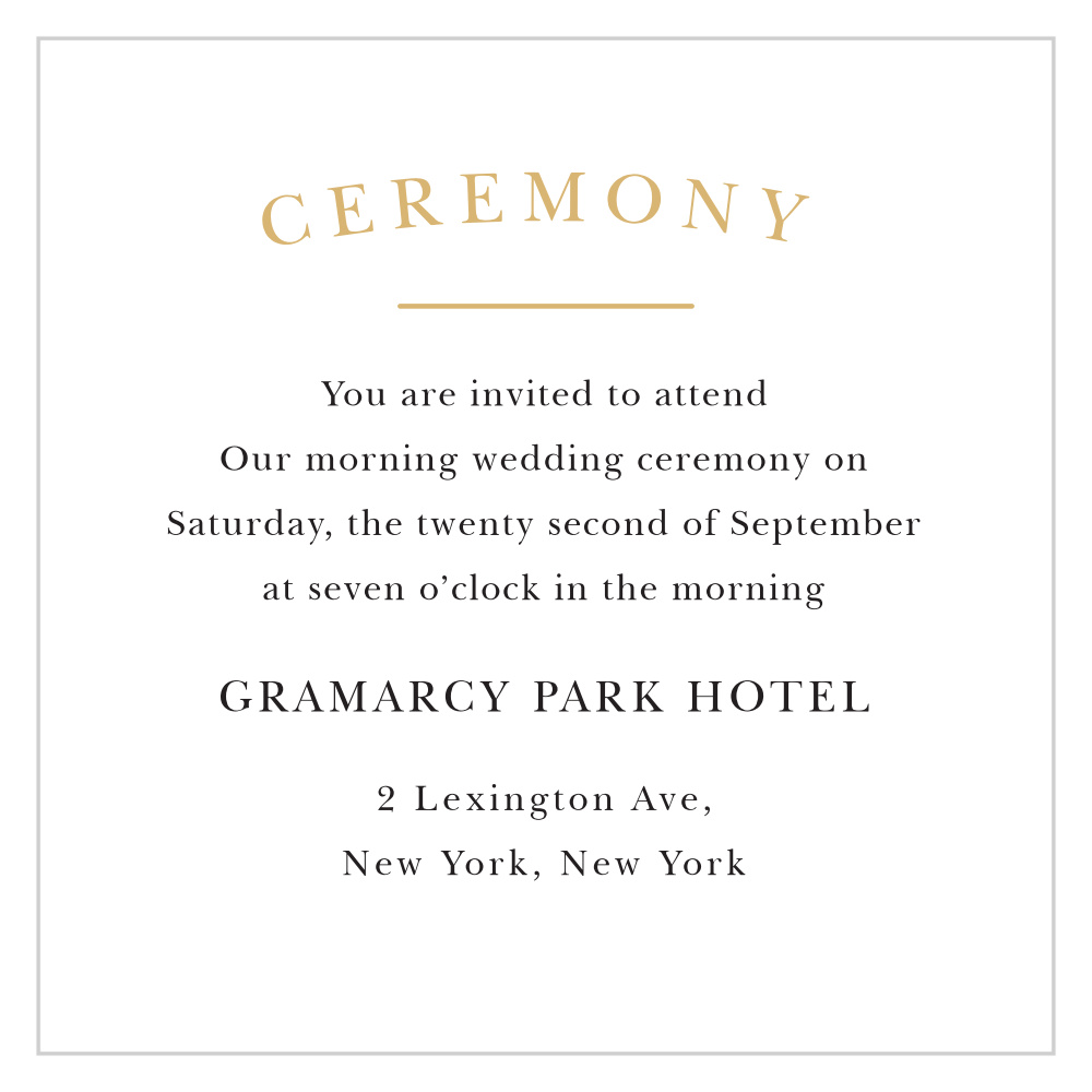 Small Ceremony Big Reception Invitations: Elegant Vintage Foil Ceremony Cards