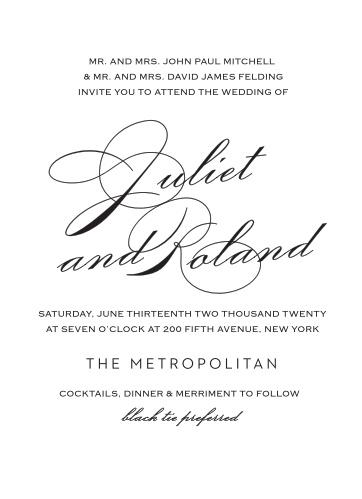 Classic Script Foil Portrait Wedding Invitations