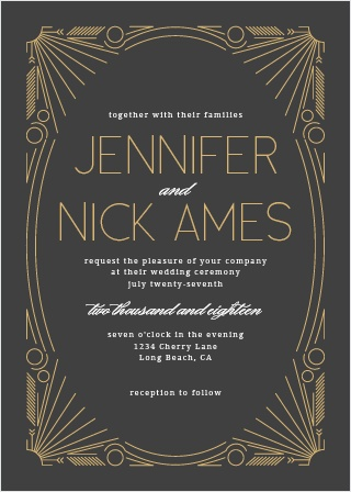 art deco wedding invitations match your color style free