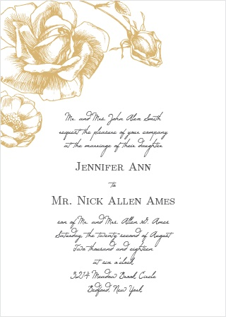 illustrated rose foil wedding invitation