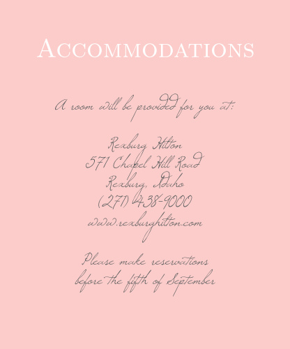 Illustrated Rose Foil Accommodation Cards