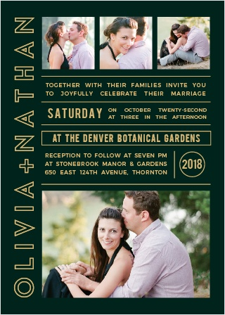 photo romance foil wedding invitation