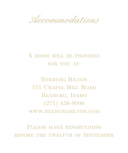 Simple Luxury Foil Accommodation Cards