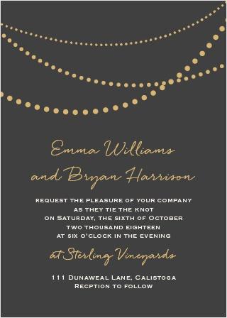 String Lights Foil Wedding Invitation