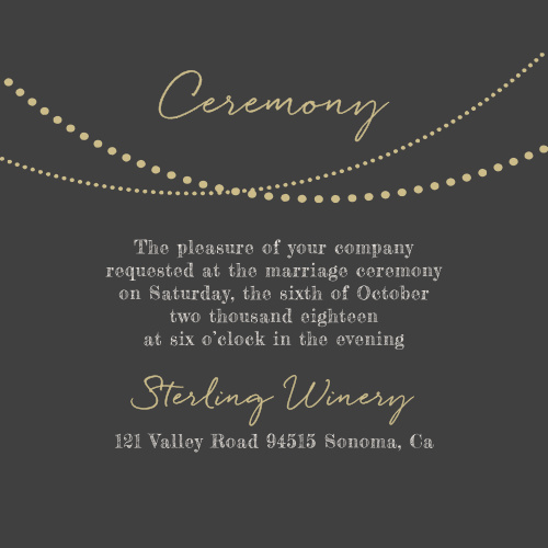 String Lights Foil Ceremony Cards