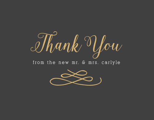 Whimsical Calligraphy Foil Thank You Cards