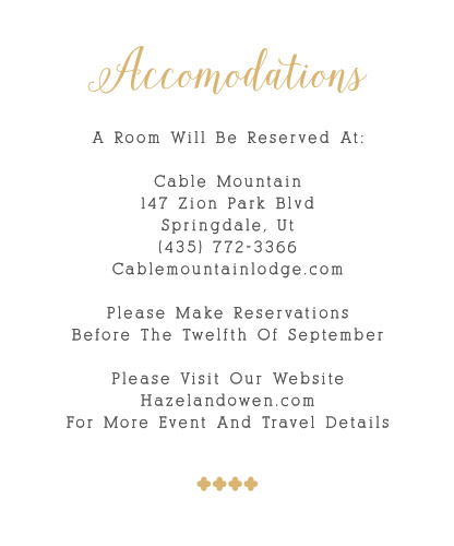 Whimsical Calligraphy Foil Accommodation Cards