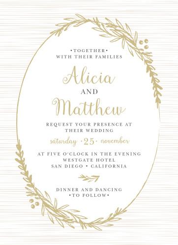 Delicate Laurel Foil Wedding Invitations