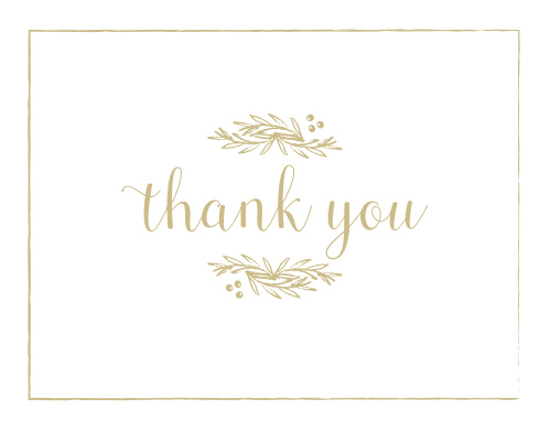 Delicate Laurel Foil Thank You Cards