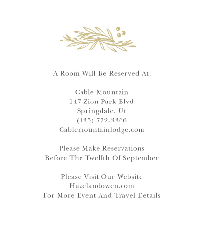 Delicate Laurel Foil Accommodation Cards