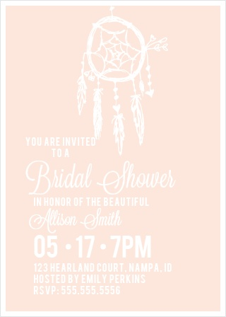 dream catcher bridal shower invitation