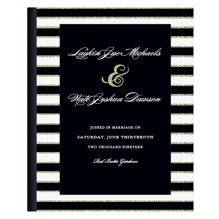 Elegant Gold Stripes Guest Book