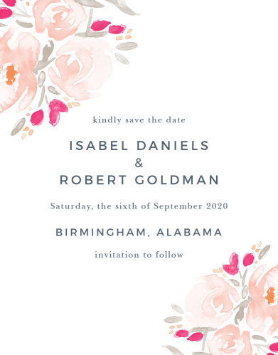 watercolor bouquet save the date card
