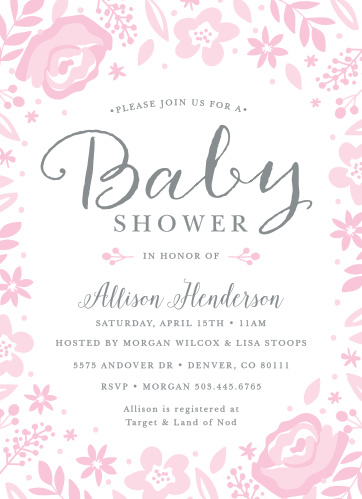 Shabby Chic Baby Shower Invitations Match Your Color Style Free