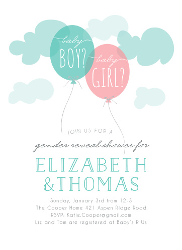 Gender Reveal Baby Shower Invitations Match Your Color Style Free