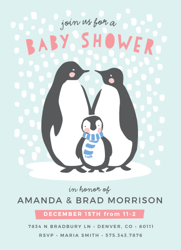 Penguin Baby Shower Invitations Match Your Color Style Free