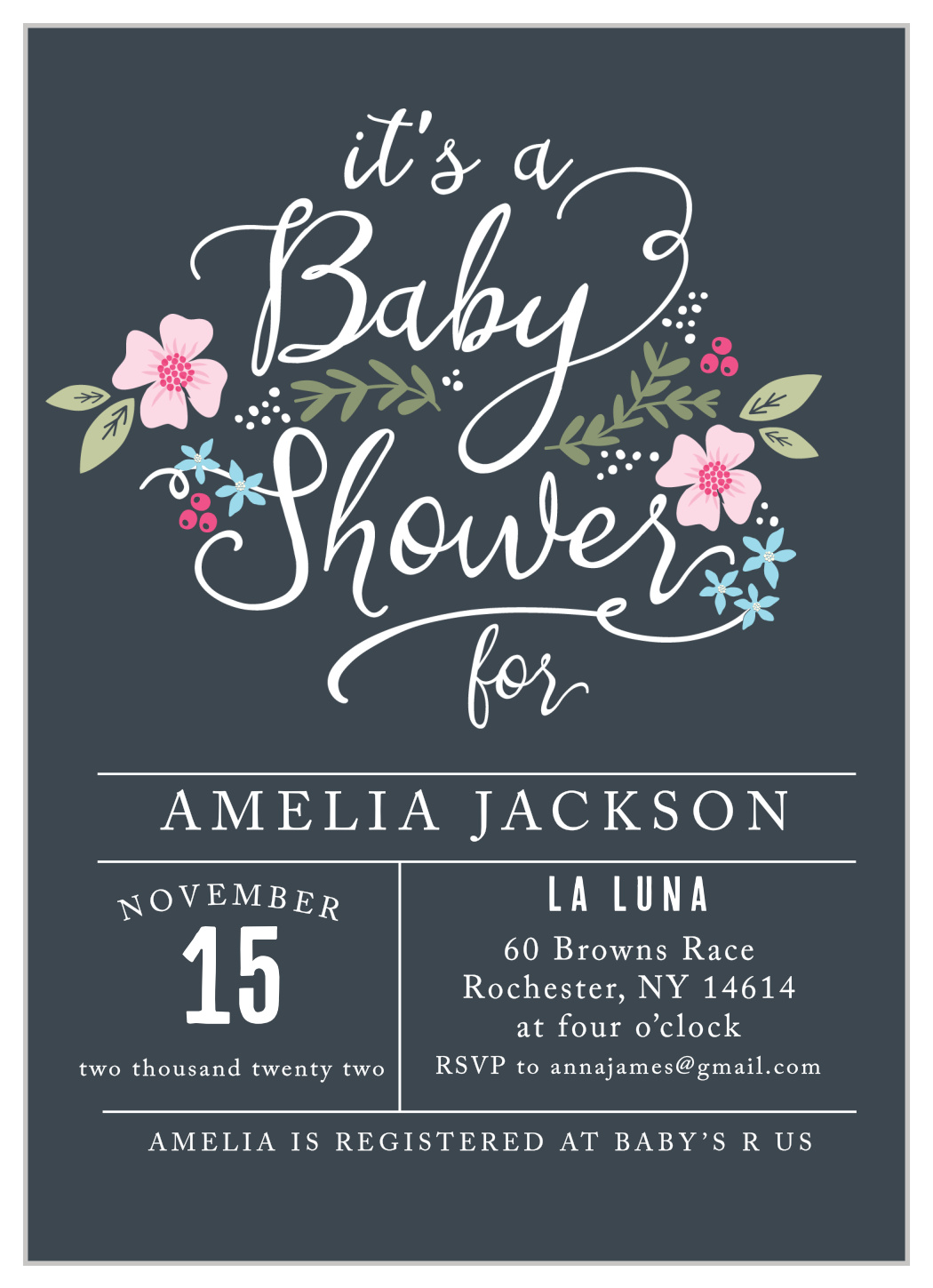 Floral Baby Shower Invitation Over the Moon Baby Shower Invitation Girl Instant Download Printable Editable